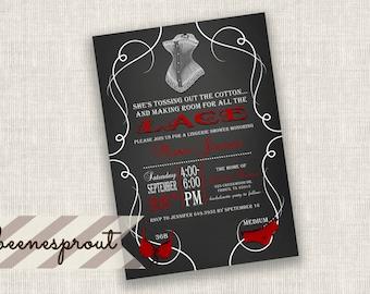 Chalk board Lingerie Bridal Wedding Shower Invitaiton
