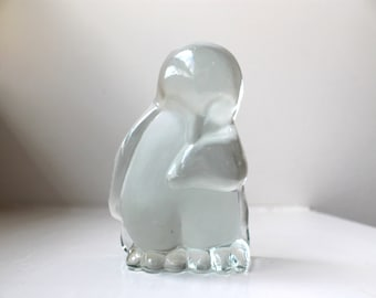 SALE Vintage Mid Century Glass Penguin Figurine Viking Crystal Art Glass