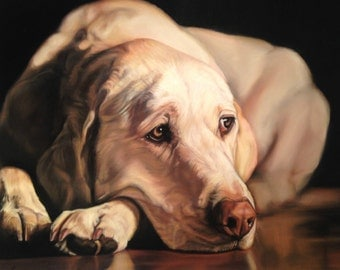 Yellow Labrador Retriever Dog Original Art, Soft Pastel, Pet Portrait