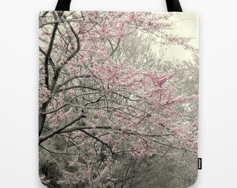 Pink Flower Tote, Pink Beach Bag, Pink Photo Tote, Spring Tote, Summer Tote Bag, Pink Floral Bag, Pink Gray Tote,  Market Tote, Book Tote