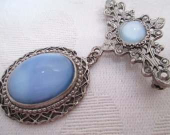 Vintage Brooch-Pin- Blue Moon Stone with Silver  - Victorian- Wedding- Something Blue