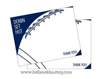 Instant Download! Printable Football Thank You Note Cards - DIY - not personalized