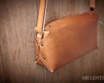 Leather Purse, cross body purse, leather handbag, brown leather purse, simple purse 105