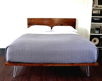 RESERVED FOR DESIRAY S. Platform Bed And Headboard On Hairpin Legs California King Size