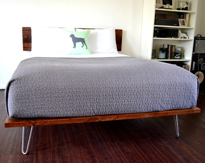 Featured listing image: Platform Bed And Headboard Queen Size On Hairpin Legs Minimal Design NEW LOWER PRICING