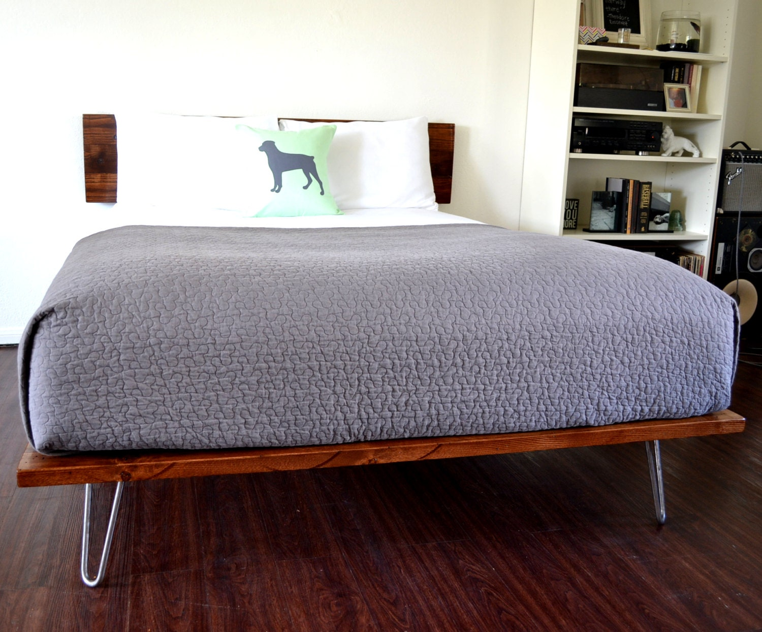Mattress Box Spring Combo Platform Bed And Headboard Queen Size On Hairpin Legs Minimal