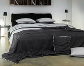 Queen duvet cover Trimmed linen bedding Soft dove grey bed linens by Lovely Home Idea