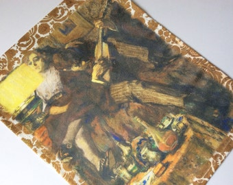Tapestry Wall Panel, Bohemian Paris by Leo Gestel, Music    Sueded Cloth, Home Decor, Art for your Wall, Window Treatment, Curtain,
