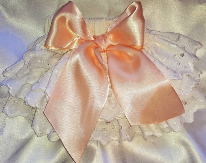 Girls Ruffled Ivory and Peach bloomers Diaper Cover Girls Babies Toddlers