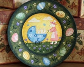 Spring Folk Art Painting Wooden Plate - MADE TO ORDER - Easter Decor Mother Bunny pushes three babies in robin's egg blue eggshell carriage,