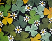 St. Patrick's Day Note Card or choose custom greeting 5 x 7 inch Glossy Card from Original Painting of Shamrocks and Daisies