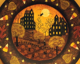 Halloween Haunted Houses Wood Plate, Hand painted Primitive Folk Art, Full Moon, Pumpkins, Candy Corn, Witches, Leaves, Bats, MADE TO ORDER