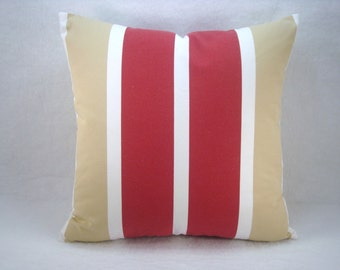 Stripe Red White and Tan Decorative Modern Pillow Cover, Accent Pillow, Toss Pillow 18x18