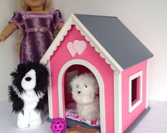 American Girl Doll pets: dog house, pink, medium