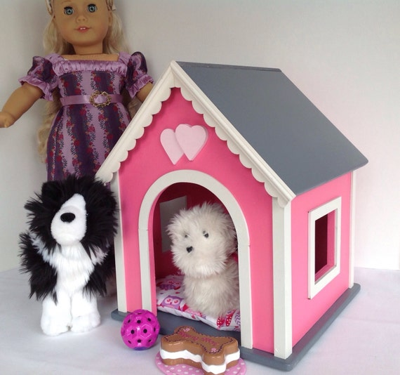 American Girl Doll pets: dog house, pink, medium size