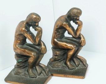 Bronze Thinker Book Ends