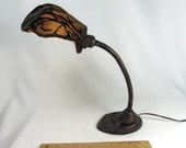 Table Desk Lamp Antique Art Deco Cast Metal 1920s Shade Custom by Judi's Lampshades
