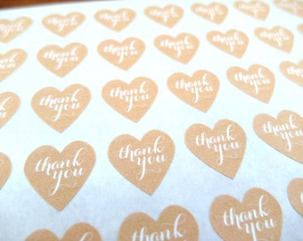 Thank You Stickers, Mini Heart Stickers, Kraft Stickers, Custom Stickers