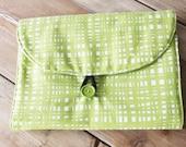 Diaper Clutch - travel clutch - lime green newsprint