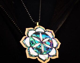 Seed of life abalone inlay lotus pendant