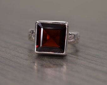 Garnet Square Ring, 9ct solitaire wide band silver ring- Fiona Ring