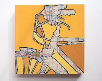 """Denver mounted print 8"""" + 12"""" - Denver art, colorado art, featuring Aurora, Englewood, Golden, Arvada, Rocky Mountains,  Colorado"""