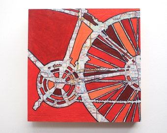 Oklahoma City  mounted print - featuring Midwest City, Del City, Norman, Oklahoma bicycle mounted art print