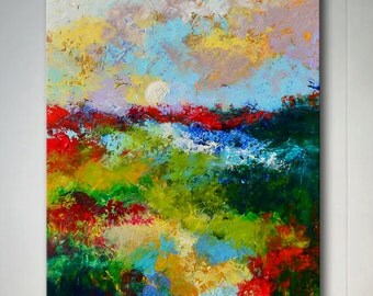 "Original Large Abstract Wetland Landscape Oil Painting- ""Marsh Abstraction XXII""- by Claire McElveen"