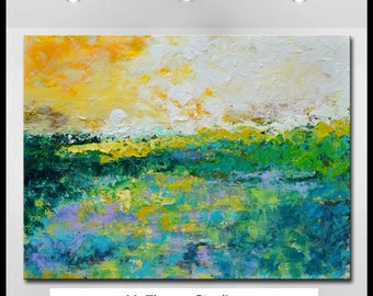 "Large Original Abstract Landscape Painting - ""Ebb And Flow"" - 48"" x 36"" Wall Art On Canvas  Ready To Hang by Claire McElveen"