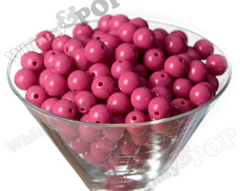 12mm - Watermelon Pink Gumball Beads, 12mm Gumball Beads, 12mm Beads, Small Gumball Beads, Opaque Acrylic Round Beads, 2mm Hole