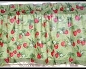 "SALE STRAWBERRIES Print Valance Cotton 40"" x 14"""