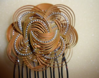 Athentic Vintage Brown Hippy Knotted Cane Silver Hair Comb