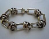 Vintage Industrial Designed Links Stainless Steel Silver Bracelet