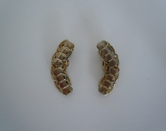 Vintage Retro Mid Century Gold tone Link Clip Earrings Ear Lobe Clips