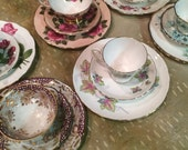 Vintage 3 Piece Tea Cup, Saucer and Lunch Plate Sets -  for Wedding / Bridal / Shower / Hostess Gifts