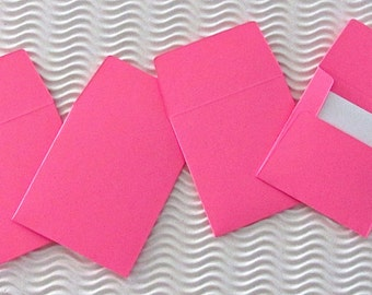 36+ teeny tiny envelope note card sets handmade hot pink mini miniature square party favors weddings stationery guest book