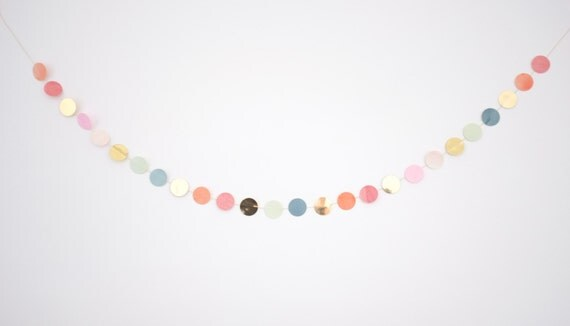 Items similar to vintage ornament gold dot garland on etsy for Gold dot garland