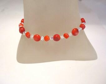 Red Coral and Swarovski Crystal Bracelet