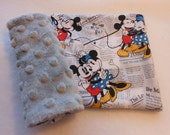 Disney Vintage Mickey & Minnie All over the News  Infant/Toddler Reversible Car Seat Strap Covers (Choice of minky)