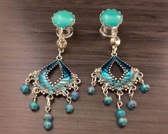 Blue Turquoise Gauges 8mm 0g Dangle Plugs 2g 4g 6g 00g Ear Plugs, Turquoise Dangly Chandelier Gauged Earrings Wood/Acrylic/Steel