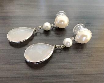 2g Wedding Gauges 00g 0g Dangle Plugs, Pearl Bridal Plugs, 6g 4g Ear Plugs Milky White Teardrop Plugs 8mm 6mm 5mm Wood Plugs/Acrylic/Steel