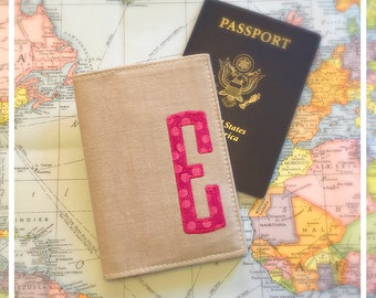 Passport Cover Personalized with Initial Khaki International Travel  Destination Wedding Bridesmaid and Maid of Honor Gift  Graduation Gift