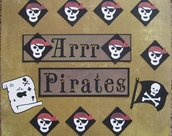 Scrapbook Layout Embellishments - 12 Pieces - Arrr Pirates