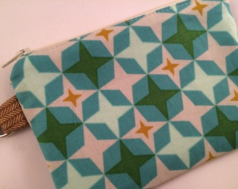 Green and Blue Geometric Small Zippered Pouch, Wallet, Coin Purse, Stocking Stuffer, Notions Case, Phone Case, iPod Case