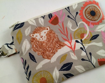 Lion and Flowers Small Zippered Pouch, Wallet, Coin Purse, iPod Case, Notions Case, Stocking Stuffer, Phone Case