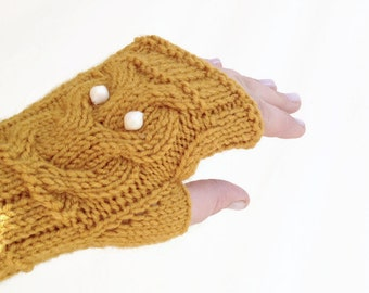 Mustard Owl Gloves Hand-Knitted Fingerless Gloves Winter Accessories Womens Gloves Accessories Valentines Day Gifts For Her / senoaccessory