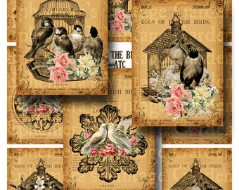 For The Birds - Digital Collage Sheet ATC's