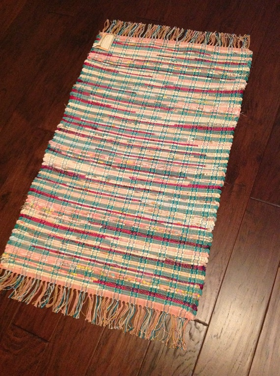 beachy turquoise and pink handwoven rag rug. Black Bedroom Furniture Sets. Home Design Ideas