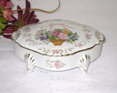 "Porcelain Oblong Footed Jewelry, Trinket Box With Flower Basket Design / 5 1/2"" x 3 7/8"" x 2"" / Lipper & Mann"