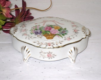"Jewelry, Trinket Box With Flower Basket Design / Porcelain Oblong Footed  / 5 1/2"" x 3 7/8"" x 2"" / Lipper & Mann"